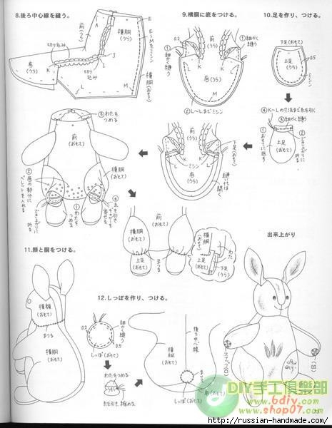 Сшить брелок кролик из меха своими руками 76