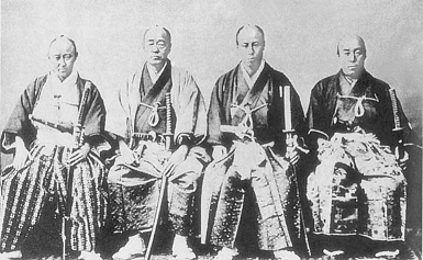 Члены Первого японского Посольства в Европу, в 1862, вокруг Шибэты Садатаро, глава штата миссии (фиксировался). (385x237, 68Kb)