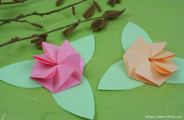 Творчество с детьми. Цветочки в технике оригами (13) (600x392, 95Kb)