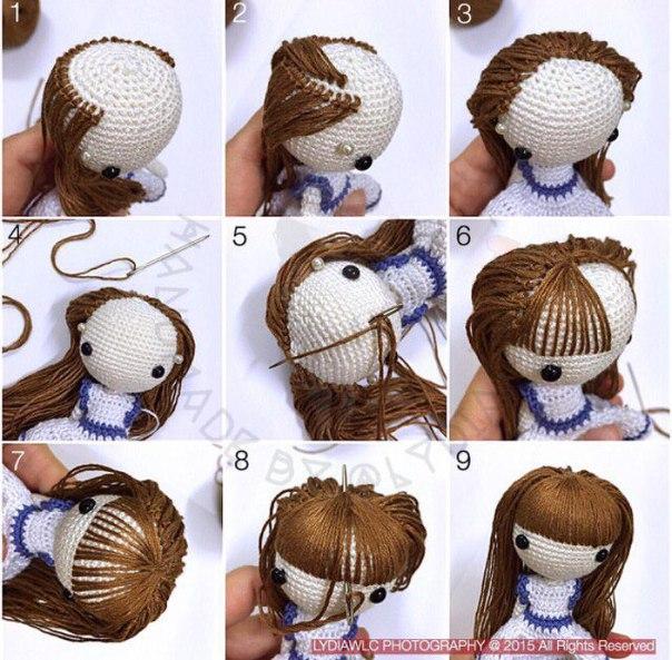 Как кукле амигуруми сделать волосы