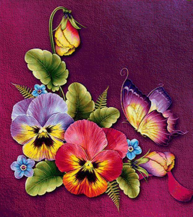 бабочки и цветы (622x700, 92Kb)