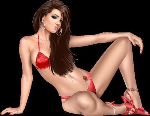 сексуальные рисованные девушки в купальниках-щж1