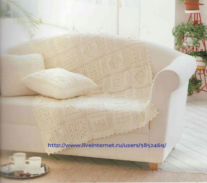 Белый плед с подушками схема описание (700x618, 241Kb)