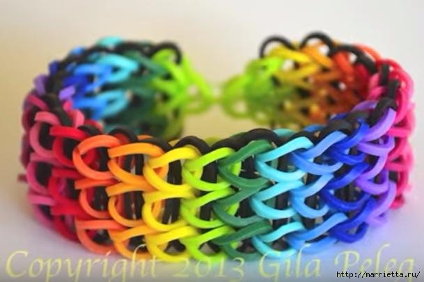 Широкий разноцветный браслет из резиночек. Видео мк (2) (609x405, 133Kb)