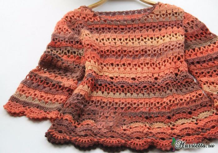 Весенний ажурный пуловер крючком из меланжевой пряжи (2) (700x491, 475Kb)