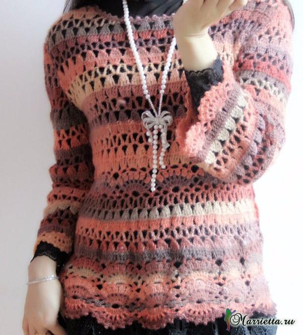 Весенний ажурный пуловер крючком из меланжевой пряжи (4) (602x666, 417Kb)