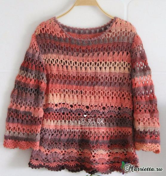 Весенний ажурный пуловер крючком из меланжевой пряжи (8) (556x591, 390Kb)
