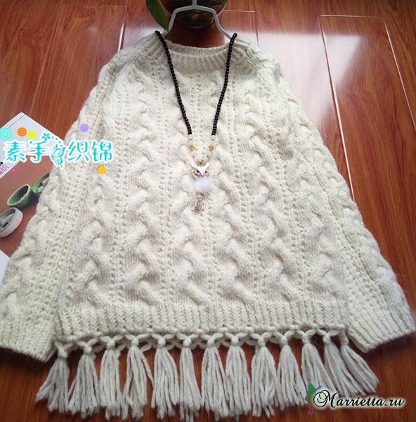 Пуловер с бахромой для маленькой принцессы (2) (592x600, 378Kb)