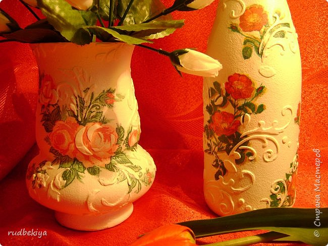Декоративная бутылка и вазочка из плафона. Декупаж (1) (650x488, 382Kb)