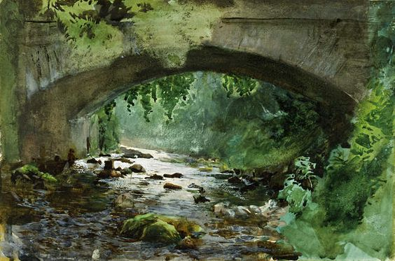 River Under Old Stone Bridge, 1884, Watercolor (564x373, 58Kb)