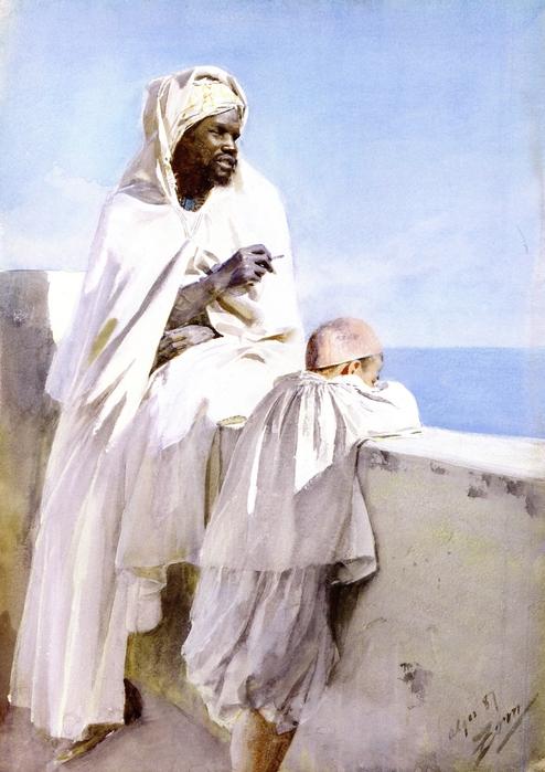 Мужчина и мальчик в Алжире, 1887 (494x700, 238Kb)