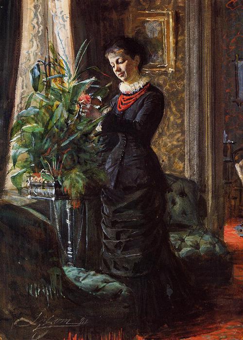 Фру Лисен Самсон, урожденная Hirsch, Аранжировка цветов у окна, 1881 (500x700, 75Kb)