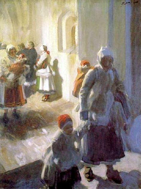 Рождество.  Утренняя служба, 1908 (471x630, 46Kb)