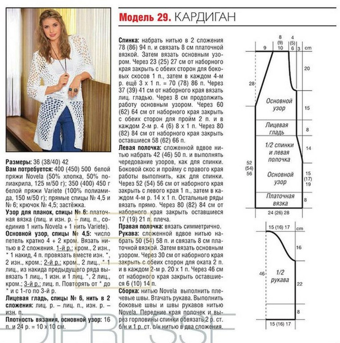 Подробное описание вязания кардигана на размер 56 10
