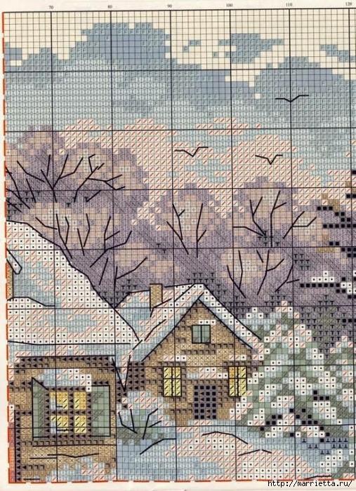 Домик в снегу. Схемы вышивки крестом (2) (507x700, 392Kb)