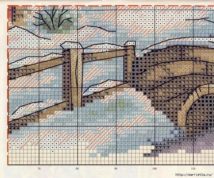 Схемы вышивка крестом снег