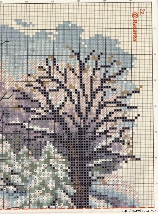 Домик в снегу. Схемы вышивки крестом (8) (516x700, 371Kb)