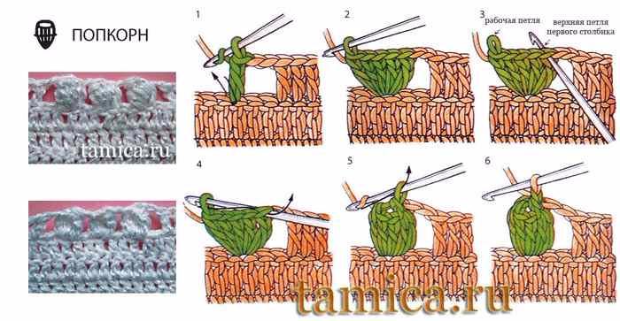 Вязание крючком элемента попкорн
