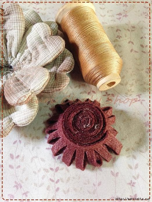 Текстильная брошь с цветами из ткани. Мастер-класс (14) (524x700, 398Kb)