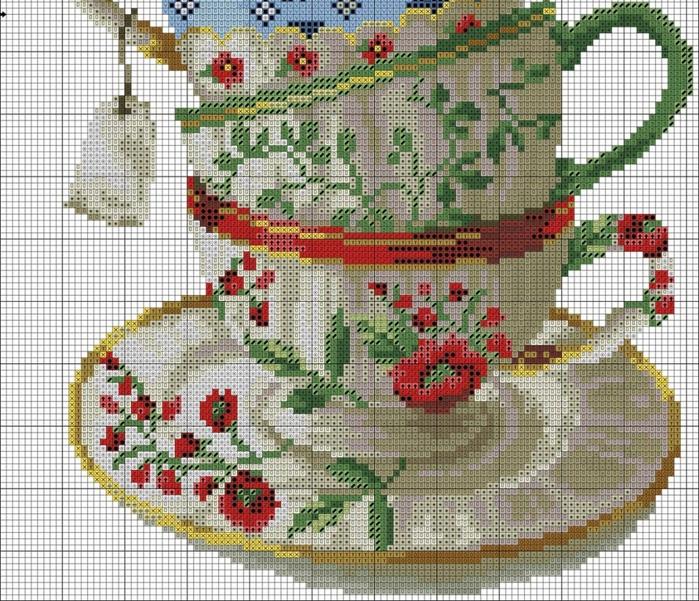 Вышивка чашка кофе схема фото 802