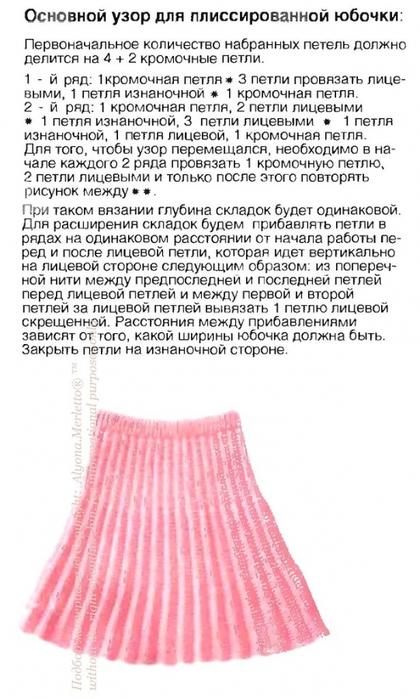 Как вязать спицами плиссированную юбку