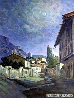 Е. Нагаевская. Крым, ночь. Бахчисарай в лунном свете (300x396, 106Kb)