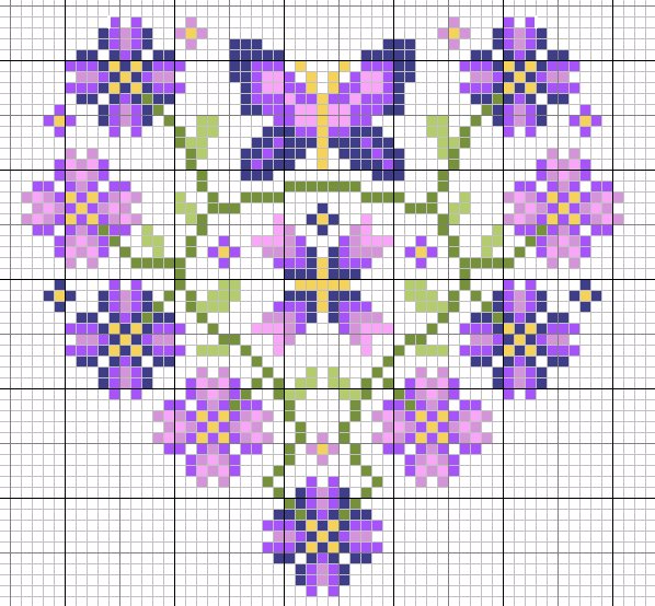 Весенняя валентинка с вышивкой крестом (1) (598x554, 428Kb)