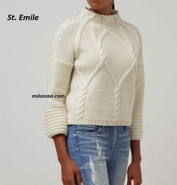 Белый-пуловер-спицами-St.-Emile-2 (615x641, 163Kb)