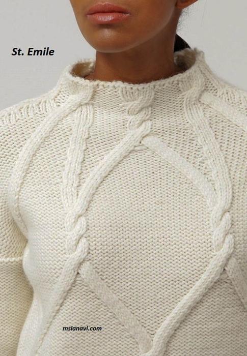Белый-пуловер-спицами-St.-Emile-5 (485x700, 345Kb)