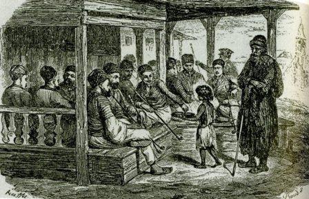 Татарская кофейня в Байдарах. Худ. Раффе. 1837 г. (448x289, 168Kb)
