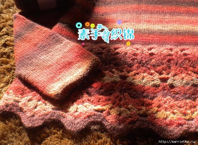 Пуловер спицами с ажурной обвязкой крючком (5) (634x465, 329Kb)