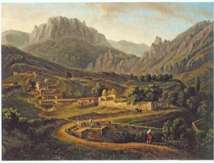 Мивилль Жан-Кристоф Мивилль Вид деревни Кусс али Косс в Крыму, 1814 (700x531, 417Kb)