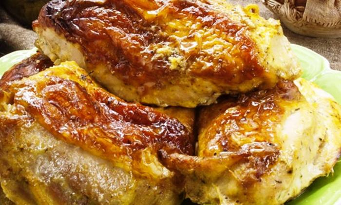 Курица в духовке с картошкой в кефире с пошагово