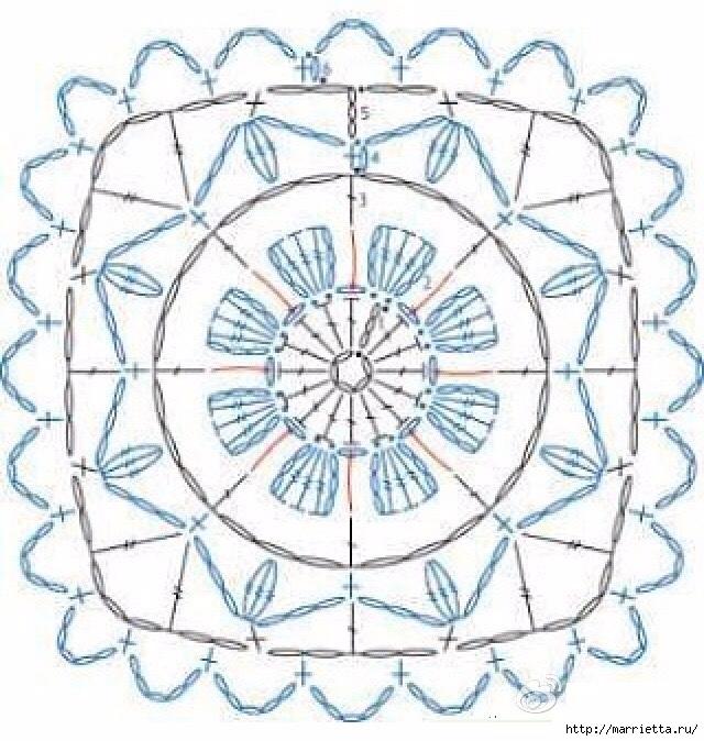 Схема мотива для вязания крючком подушки или покрывала (2) (640x674, 303Kb)