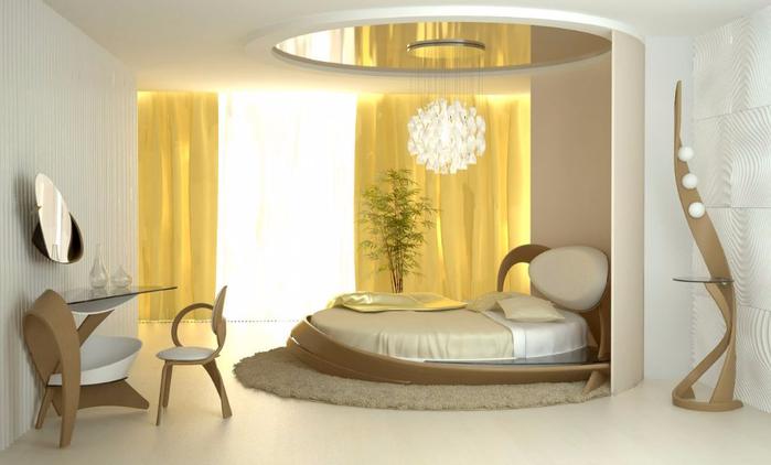 Круглая кровать фото в интерьере