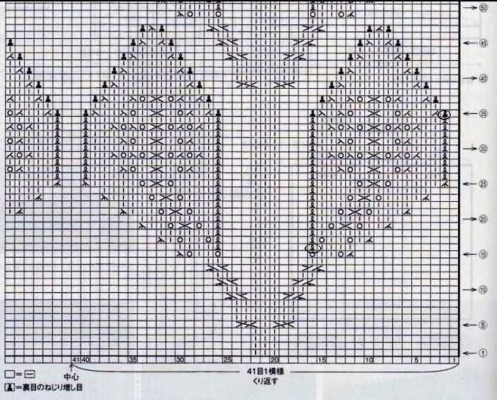 Схема вязания спицами крупные листья