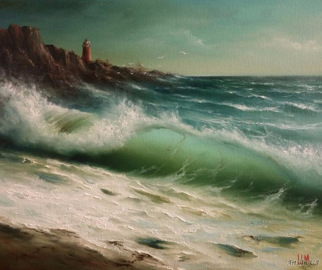 Морской вид с маяком (640x537, 293Kb)