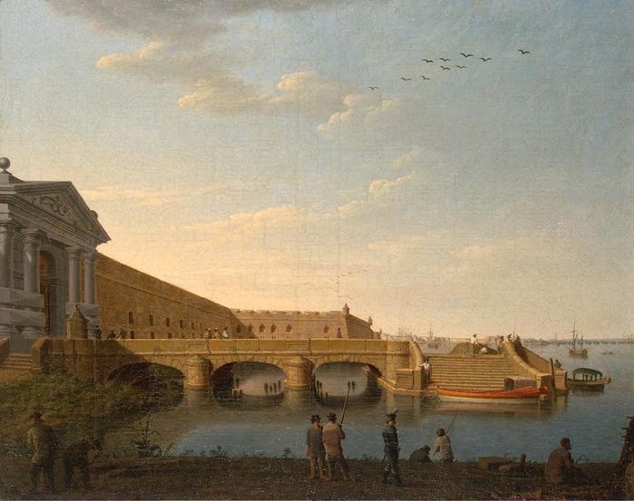 4. 1798 - Вид на Дворцовую площадь от угла бастиона Петропавловской крепости (700x553, 474Kb)