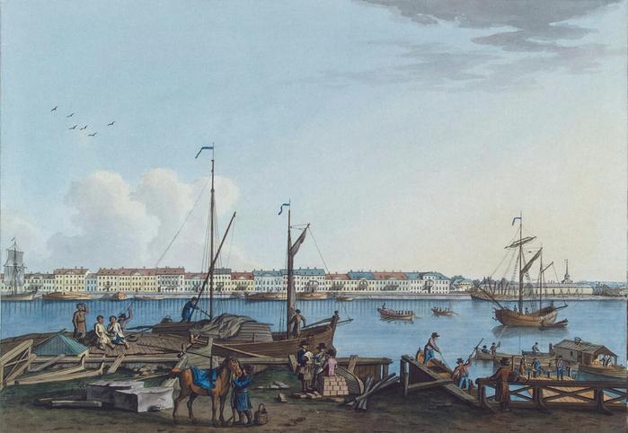 5. 1799 - Вид Английской набережной и Галерного двора с Васильевского острова (700x482, 335Kb)