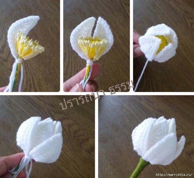Вязание крючком: Белая кувшинка - Maomao - переместить ваши ноги