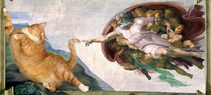 1. Микеланджело, Сотворение Кота (700x314, 313Kb)