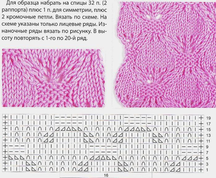 Вязание спицами новые узоры схемы 13