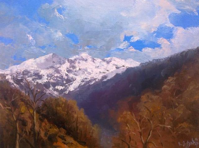 Кавказ зимой. Теплий день. Этюдь (640x475, 283Kb)