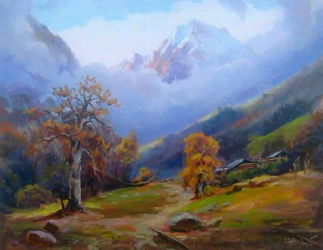 Осень в горах Этюд (636x493, 345Kb)