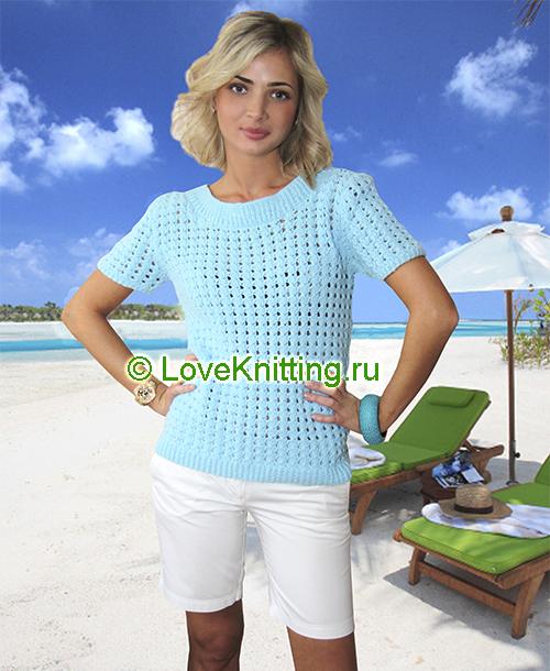 06 Автор Ажур голубой пуловер МТ2 (500x610, 308Kb)