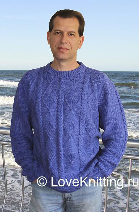 11 Автор Мужской пуловер с узором Sub (459x700, 365Kb)
