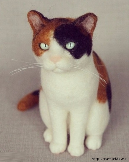 Коты и кошечки в технике сухое валяние из шерсти (11) (436x546, 108Kb)
