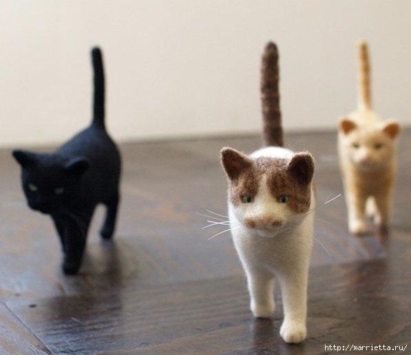 Коты и кошечки в технике сухое валяние из шерсти (13) (597x515, 106Kb)