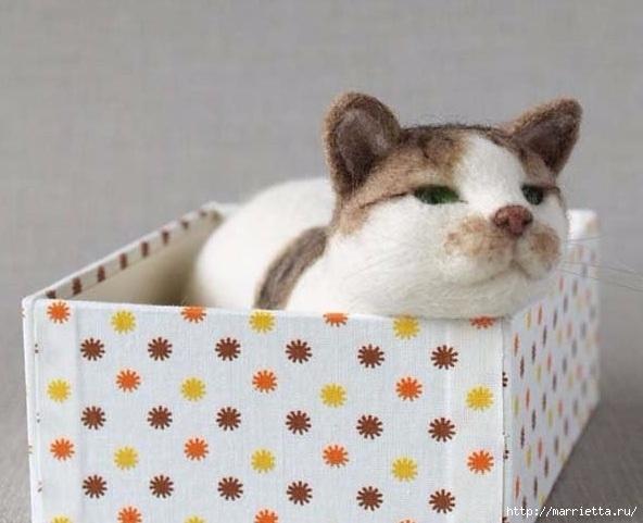 Коты и кошечки в технике сухое валяние из шерсти (15) (592x481, 137Kb)