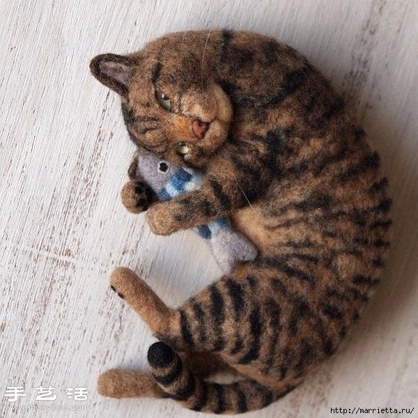 Коты и кошечки в технике сухое валяние из шерсти (19) (600x600, 218Kb)
